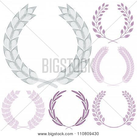 Set of Guilloche Wreaths. Vector illustration.