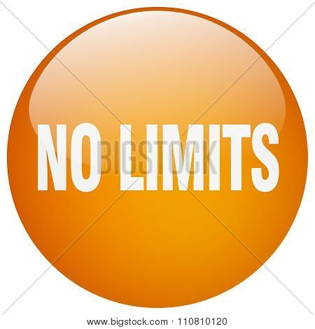 No Limits Orange Round Gel Isolated Push Button