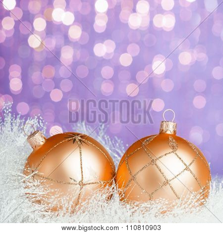 Christmas decoration on sparkles background