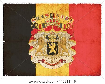 Grunge Flag Of Belgium With Coat Of Arms