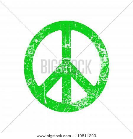 Illustration Vector Green Grunge Ellipse Peace Sign Symbol Isolated On White Background.