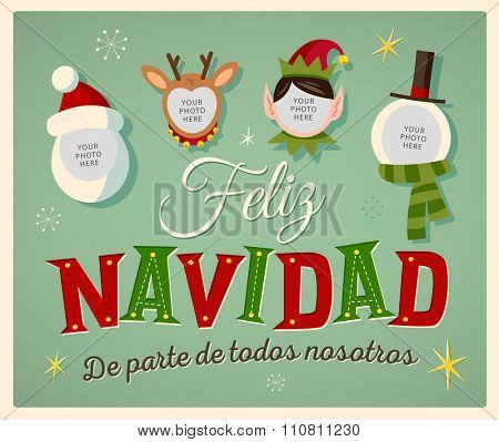 Vintage Style Family Spirit Christmas card in Spanish.