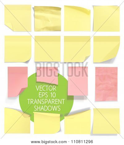 Set of sticky notes. Vector illustration with transparencies. Eps 10.