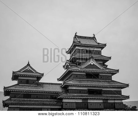 Masumoto Castle , In Autumn At Nagano Province In  Japan Black And White