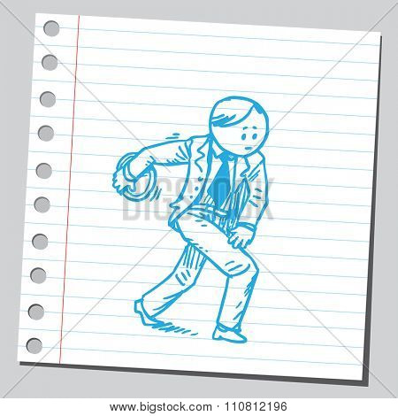 Businessman throwing  discus