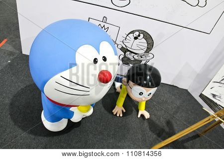 Bangkok - December 03, 2015 : Photo Of Doraemon And Friends Mascot Replica