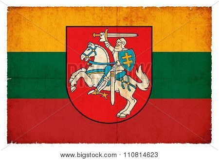 Grunge Flag Of Lithuania With Coat Of Arms