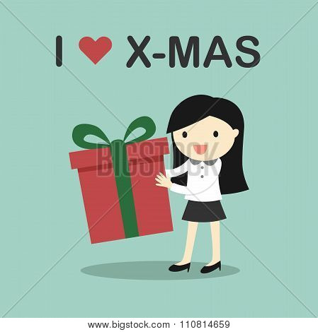 Business concept, Business woman holding a gift box with the words