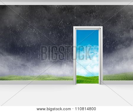 Bad weather on the wall of room and a good outside door
