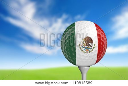 Golf ball with Mexico flag colors sitting on a tee