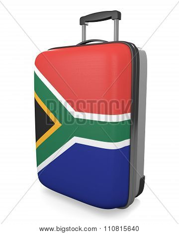 South Africa vacation destination concept of a flag painted travel suitcase