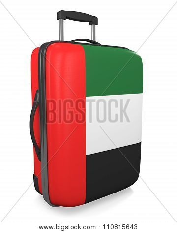 United Arab Emirates vacation destination concept of a flag painted travel suitcase