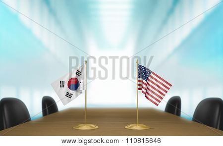 South Korea and United States relations and trade deal talks 3D rendering