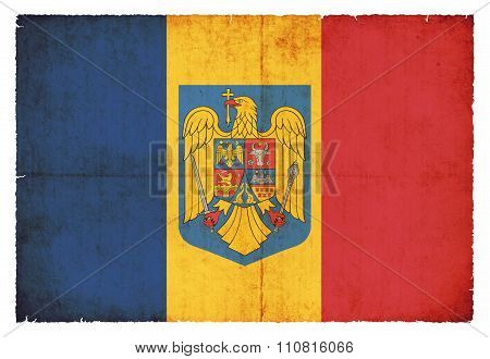 Grunge Flag Of Romania With Coat Of Arms