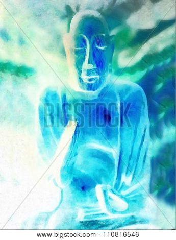 Buddha silhouette in lotus position against colorful grunge background.