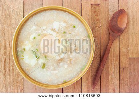 Traditional Chinese Porridge Rice Gruel In Bowl