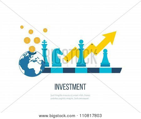 Concept for investment, financial srategy, banking, strategic management. Investment business.