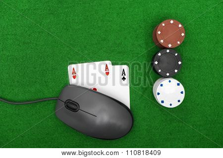 Laptop, Poker Cards And Poker Chips