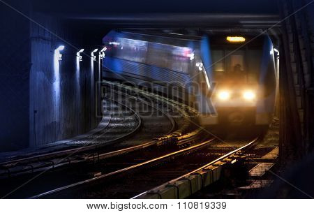 Trains on traintracks, blurred