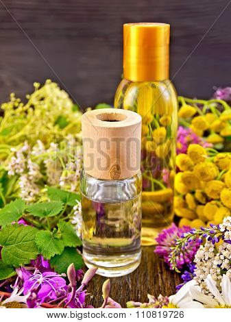 Oil And Lotion With Flowers On Board