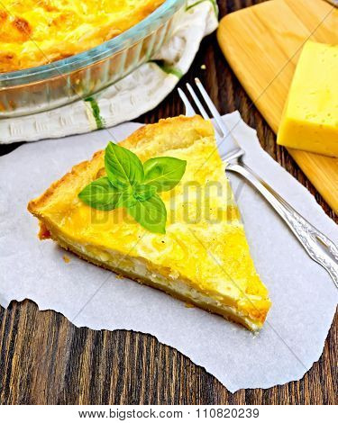 Pie With Cheese And Leeks On Paper