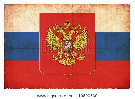 Grunge Flag Of Russia With Coat Of Arms