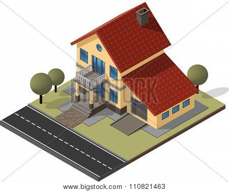 Cottage Isometric Vector EPS10