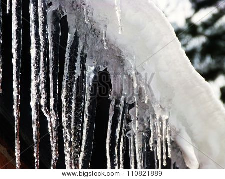icicle hanging roof snow drip winter freezing