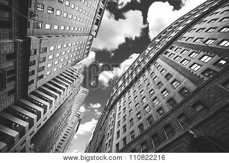 Black And White Photo Of Buildings In Manhattan, Nyc.