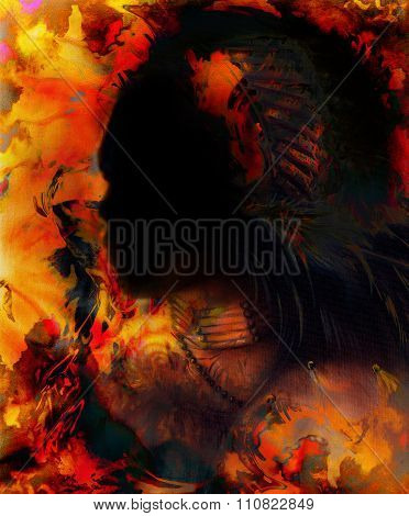 indian warrior wearing a gorgeous feather headdress, profile portrait with shadow dark face, orange,