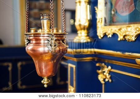 Orthodox icon lamp in Church .