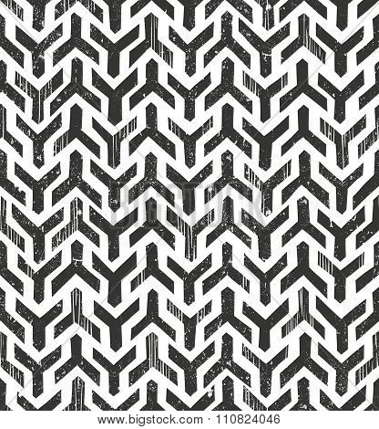 Hand drawn  tribal monochrome pattern. Primitive geometric background in grunge style.