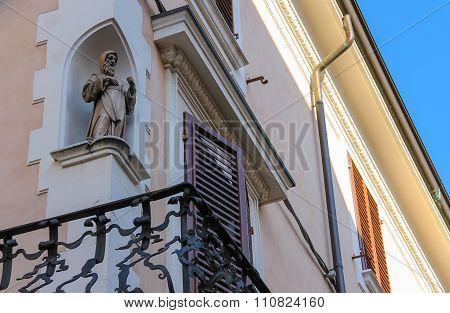 Facade Of Rimini City Hall With Statue On Cavour Square In Rimini, Italy
