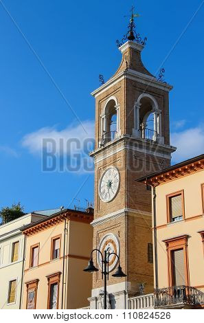 Ancient Clock Tower (torre Dell'orologio) In Rimini, Italy