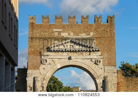 Ancient Arch Of Augustus (arco Di Augusto) In Rimini, Italy