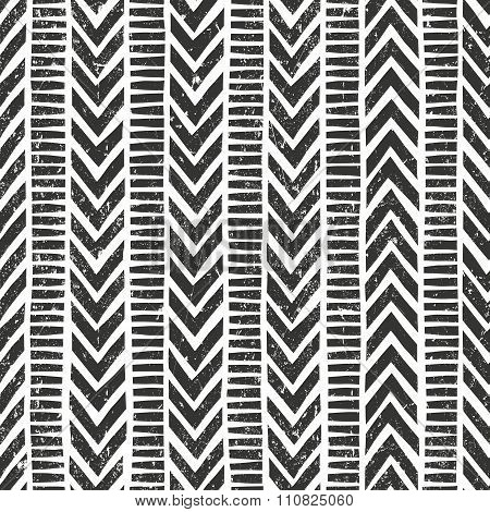 Vector hand drawn tribal pattern. Seamless geometric background with grunge texture.