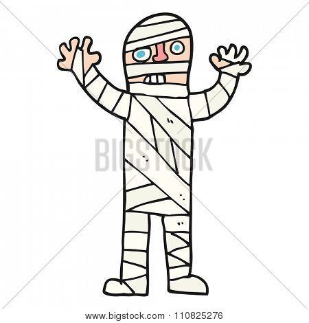 freehand drawn cartoon bandaged mummy