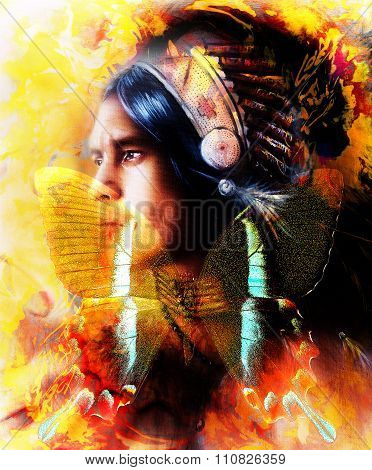 beautiful painting of a young indian warrior wearing a gorgeous feather headdress and butterfly, pro