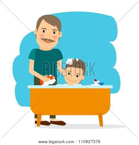 Father and son taking bath