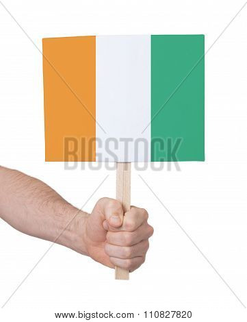 Hand Holding Small Card - Flag Of Ivory Coast
