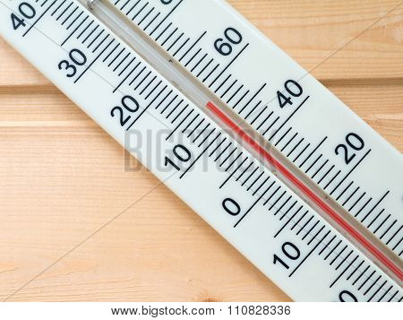 Thermometer On The Wooden Background
