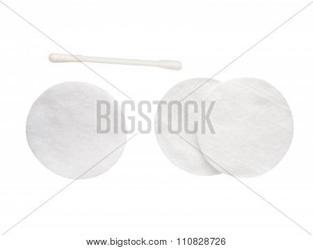 Cotton Pad And Stick Isolated On White