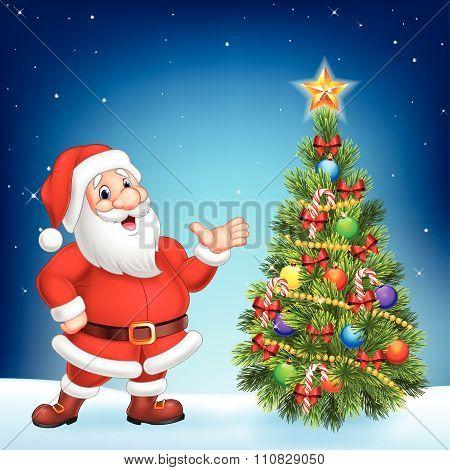 Cute Santa presenting on a night sky background
