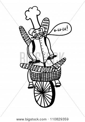 French chef rides a bicycle and carries  baguettes, comic outline vector illustration