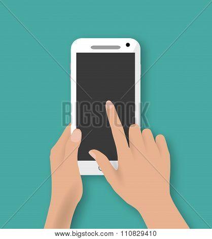 Hand touching screen of white phone