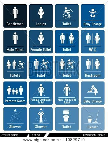 Restroom signs. Vector illustration. WC icons. Collection of toilet informational signs