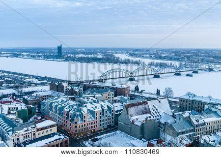 Railway Bridge Across Winter-time Daugava River, Riga, Latvia