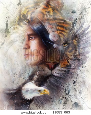 tiger with eagle and indian warrior and headdress illustration. wildlife animals on painting backgro