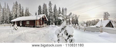 Log Farmhouse Mahogany Stained Wood, In Snowy Winter Fir Forest.