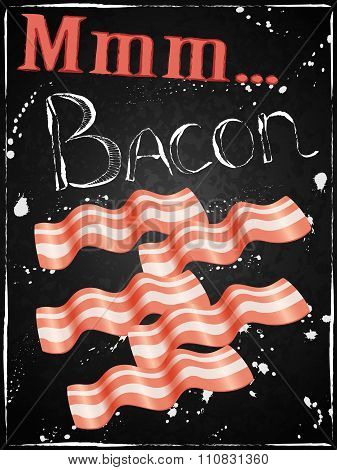 Bacon Poster Breakfast Chalkboard Funny